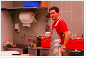 butcher with apron